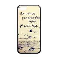 Elegant Retro Sometimes You Gotta Fall Quote Apple Iphone 5C Case Cover TPU Laser Technology Seagull Birds