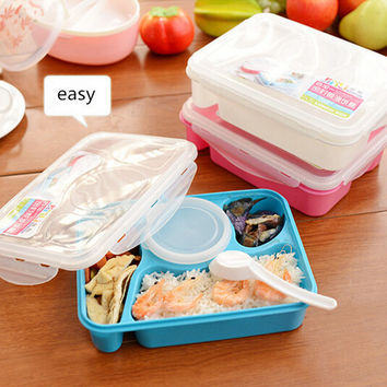 High Quality Bento Lunch Box Fully Sealed Food 4-compartment Bento Box Soup Bowl With Plastic Scoop Pratos Microwave Meal(00099)