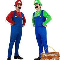 Super Mario party nes switch Halloween Costumes Men  Luigi Brothers Plumber Costume Jumpsuit Fancy Cosplay Clothing for Adult Men AT_80_8