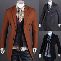 Modern Men Fashion Slim Fit Long Blazer Coat