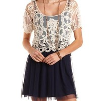 Layered Lace & Tulle Dress by Charlotte Russe - Navy Combo