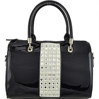 Bling Stones Boston Bag Patent Leather Purse Black