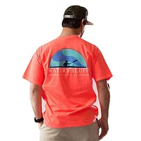 Paddler Tee Shirt in Neon Red Orange by Waters Bluff