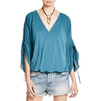 Free People Womens Salt N Peppa Modal Blend Surplice Blouse