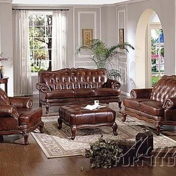Leather Living Room Set 7-pc High End Furniture Office Traditional Dark Cherry