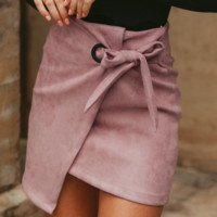 Explosion models suede lace irregular band hip half skirt women autumn and winter new