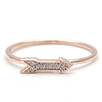 tiny arrow ring, in pink