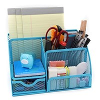 Mesh Desk Organizer 5 Compartment Office Supplies Caddy Pen Holder Card Case Organizer Storage Box with Drawer ,Green