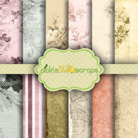 Classic Romantic Garden Theme Papers - French Vintage - 12 Digital Scrapbook Papers - 12x12inch - Printable Backgrounds -  INSTANT DOWNLOAD