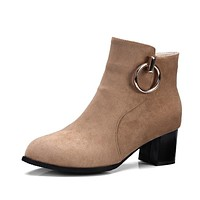Metal Circle Flock Ankle Boots for Women 4232