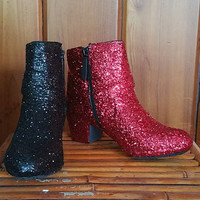 Harley Quinn Inspired Red and Black Low Heel Glitter Ankle Booties US Size 8
