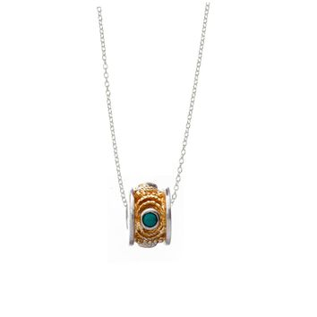 December Turquoise Sterling Silver with 14k Gold Vermeil Bead Necklace