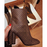 Onewel LV Boots Louis Vuitton Monogram print Shoes High heel high tops Shoes
