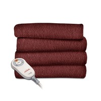 Garnet Red Soft Warm Fleece Electric Heated Throw Blanket