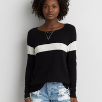AEO Easy Striped Sweater, Black