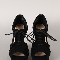 Bamboo Pamela-37 Peep Toe Lace Up Platform Wedge