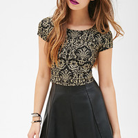FOREVER 21 Baroque Print Crop Top Black/Gold