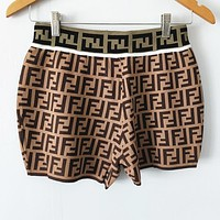 FENDI Fashion Women Casual Double F Letter Jacquard Casual Knit Shorts Coffee