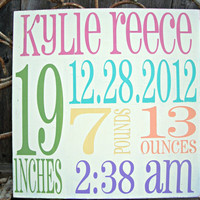 PERSONALIZED shabby chic vintage BIRTH Facts Subway Art - Birth Announcement, Baby Girl, Boy,