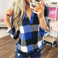 fhotwinter19 Hot Sale Sexy Printed Plaid V-Neck Long Sleeve Ladies Top