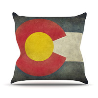"""Bruce Stanfield """"State Flag of Colorado"""" Black Red Throw Pillow"""