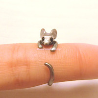 Mouse ring - Gold and Silver; adjustable size; minimalist knuckle rings, midi rings, mini rings, animal ring, cow, cute ring