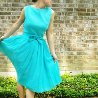 1960s VINTAGE teal COCKTAIL MAD men party dress