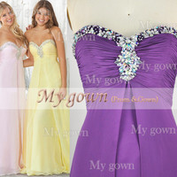 A Line Beads Crystal Draped Violet Chiffon Prom Dress, Wedding Dress, Evening Gown,