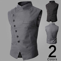 Asymmetric Button Design Fashion Men Slim Vest