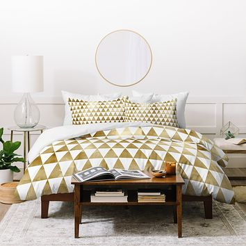 Georgiana Paraschiv Triangle Pattern Gold Duvet Cover
