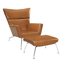 LexMod Style ch445 Wegner Wing Dining Chair and Tan Leather Ottoman