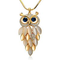 Trendy Owl Necklace Rhinestone Crystal Long Chain