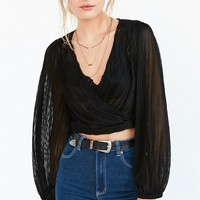 Pins And Needles Crinkle Wrap Shrug Top