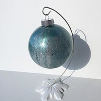 Stained Glass Glitter Christmas Ornament Bulb - Aqua Silver Swirl - Stained Glass Inspired - Glass Christmas Ornaments