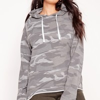Missguided - Plus Size Camo Hoodie Grey