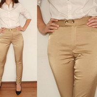 High Waisted Pants Skinny Trousers in Golden Satin for Women