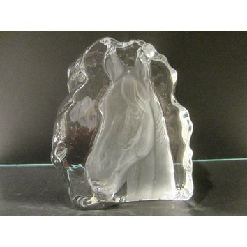 Crystal D Arques France Equestrian Horse Head Paperweight