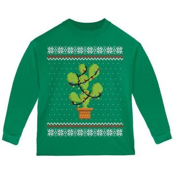 DCCKU3R Cactus Prickly Pear Tree Ugly Christmas Sweater Toddler Long Sleeve T Shirt