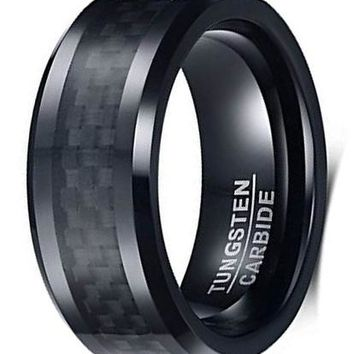 CERTIFIED 8MM Tungsten Carbide Black Carbon Fiber Inlay Polish Edges Wedding Band