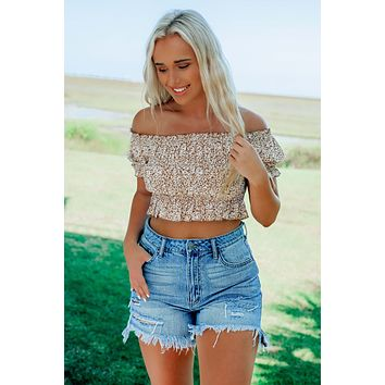Always Noticed Cropped Top: Brown/Ivory