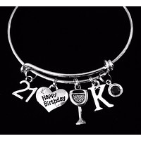 Personalized Happy 21st Birthday Wine Glass Birthstone Expandable Silver Charm Bracelet Adjustable Bangle Trendy 21 Gift