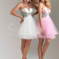 Amazing A-line Sweetheart Organza Mini Graduation Dress with Applique from SinoAnt