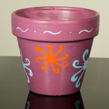 """Hand Painted Flower Pot- 6 Inch Terracotta Pot """"Colorful Flowers"""", Birthday, Housewarming, Wedding, Christening Gift- Made to Order"""