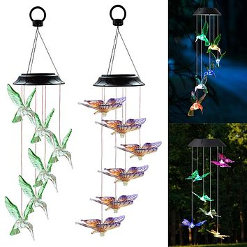 LED Solar Hummingbird Wind Chime Yard Garden Butterfly Decor Birthday Gifts Festival Decoration Color Changing