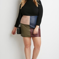 Plus Size Faux Leather Colorblock-Paneled Skirt