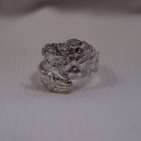 A Spoon Rings Plus Size 6 1/2 Petite Spoon Ring Wrap Style Antique Spoon and Fork Jewelry t410
