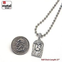 """Jewelry Kay style Men's Iced Out Silver Plated Jesus Pendant 27"""" Ball Chain Necklace MMP 802 S"""