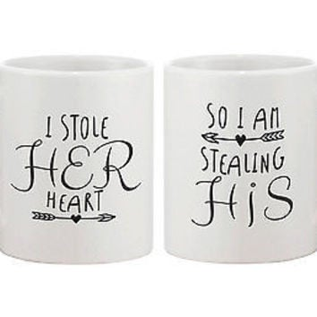 Stealing Hearts Matching Coffee Mugs -His and Hers Couple Coffee Mug Cup