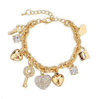 Gold Plated Dainty Jeweled Charm Bracelets - Save 67%!