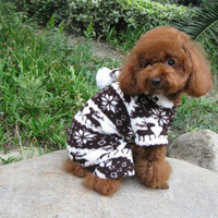 Free Shipping,Dog Pet Clothes Autumn Winter Outfit, Ultra Thick Berber Fleece, Deer Snow Cotton-Padded Clothes Chocolate Hooded Clothing